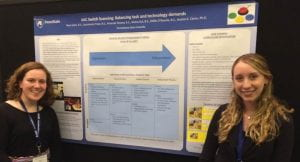 Master's students Alaina Eck and Amanda Slowey at Poster